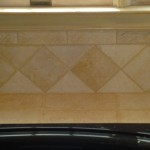 Zoomed in of the backsplash surrounding tub